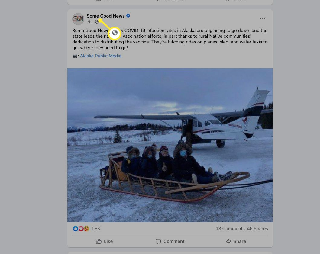 A Public Facebook post indicated by a Globe icon
