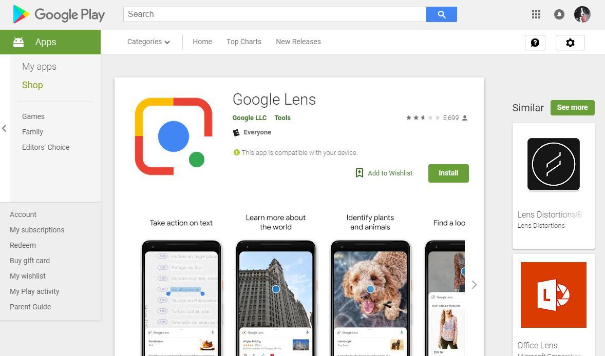 Google Lens app download page on Google Play.