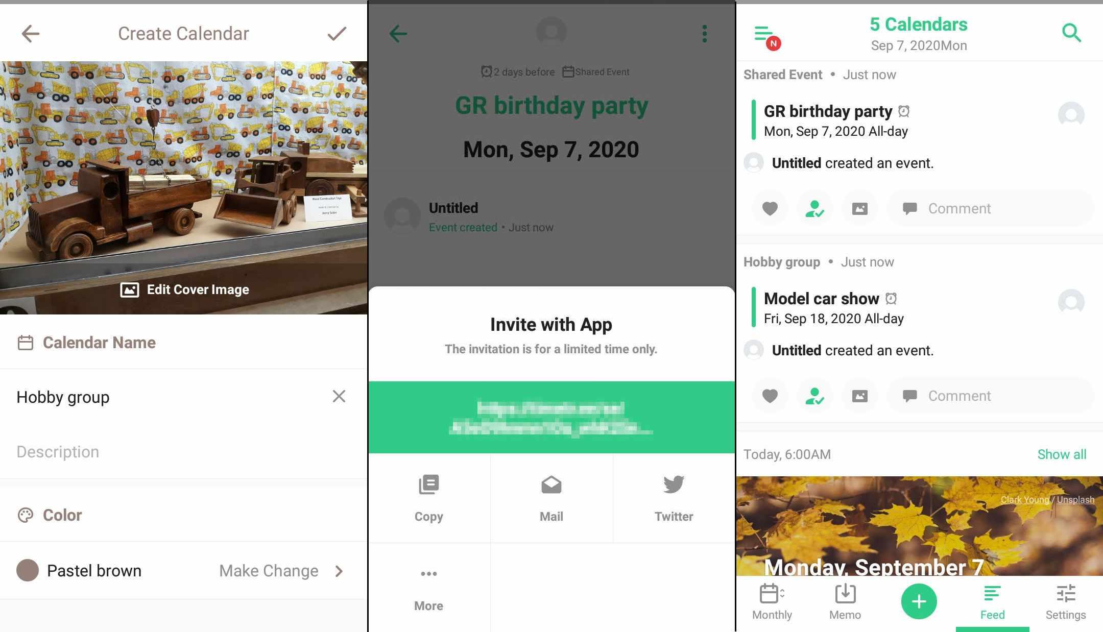 Create a calendar, invite to a calendar, and view daily agenda with TimeTree