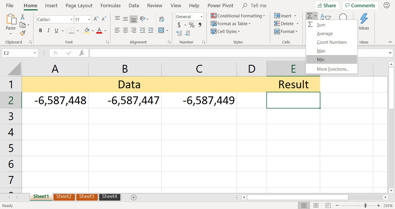A screenshot showing the the MIN function shortcut on the Excel Home tab