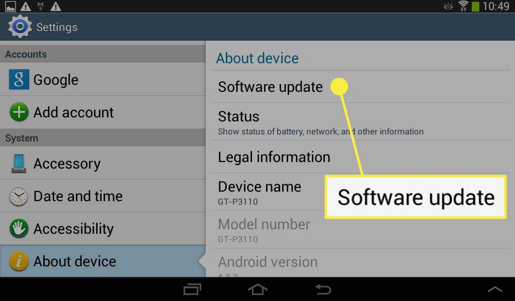 Software update highlighted in the Settings app on an Android device.