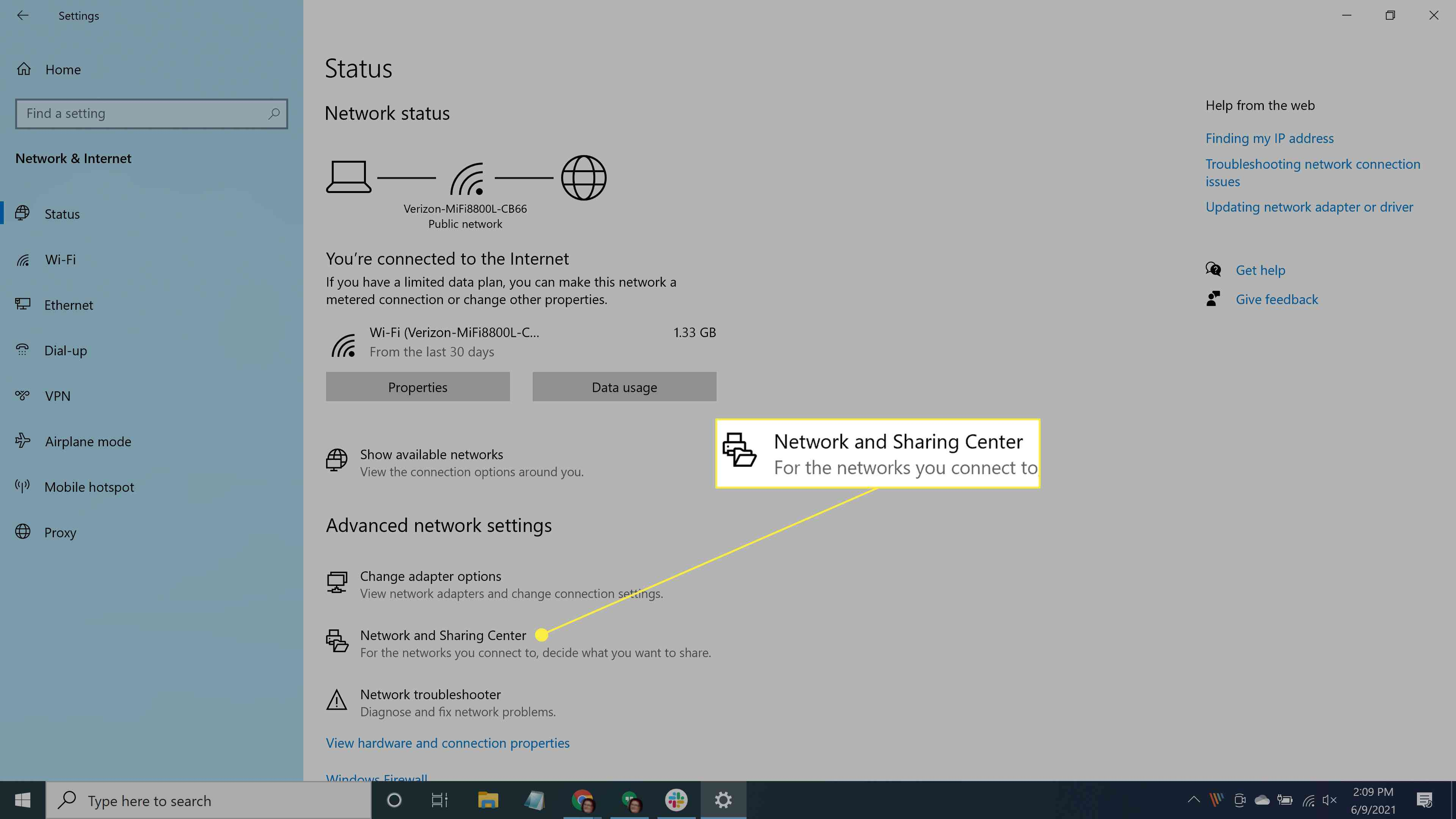Selecting Network and Sharing Center in Windows 10.