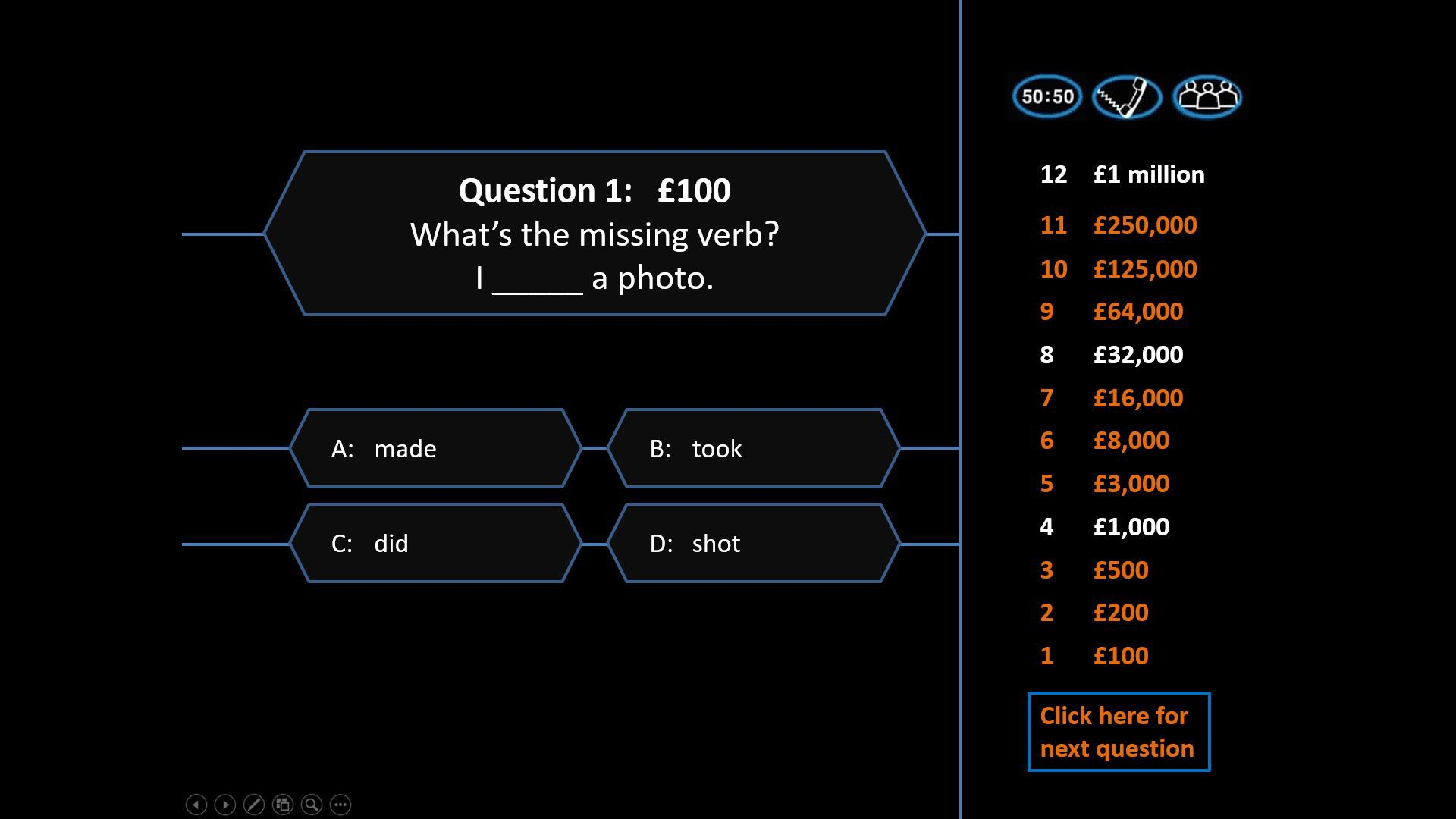 A sample question for a Who Wants to Be a Millionaire PowerPoint.