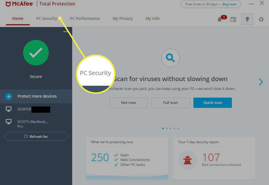 McAfee Total Protection dashboard on Windows 10