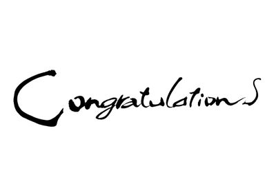 Congratulations text in cursive script