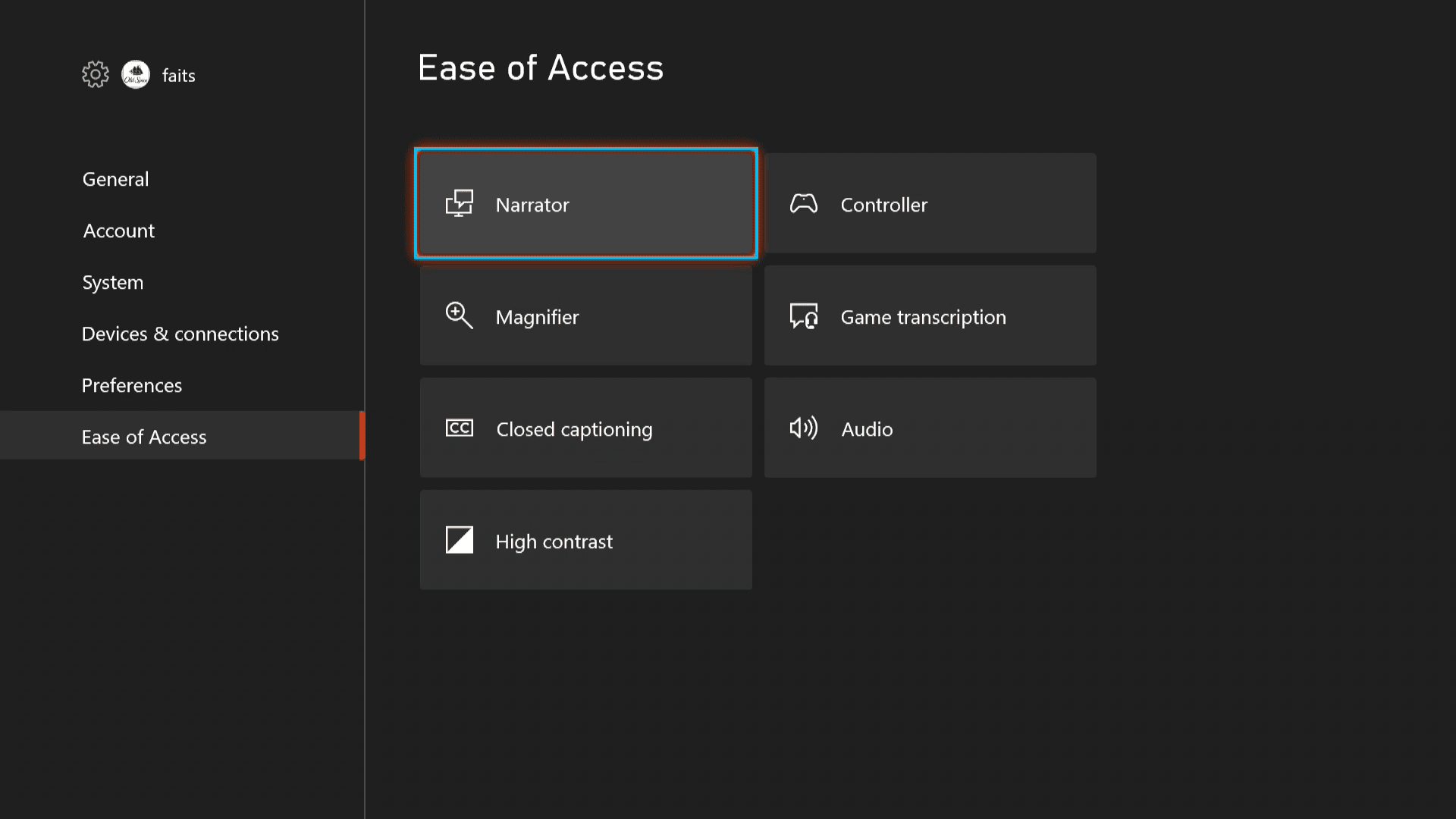 Ease of Access settings on Xbox Series X|S with the narrator on.
