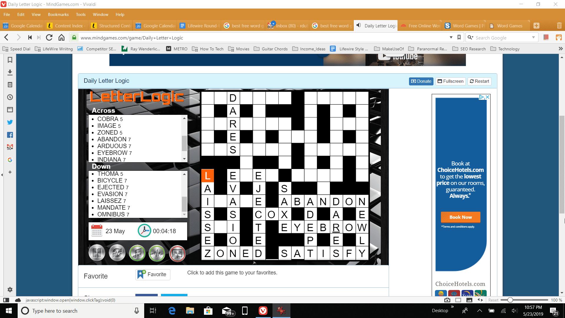 Screenshot of playing Letter Logic