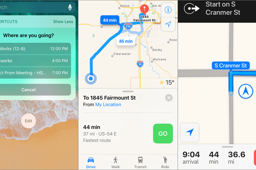 Screenshot of an iOS shortcut that shows directions to your next calendar event