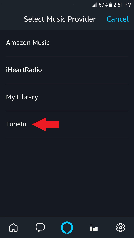alexa app select music provider