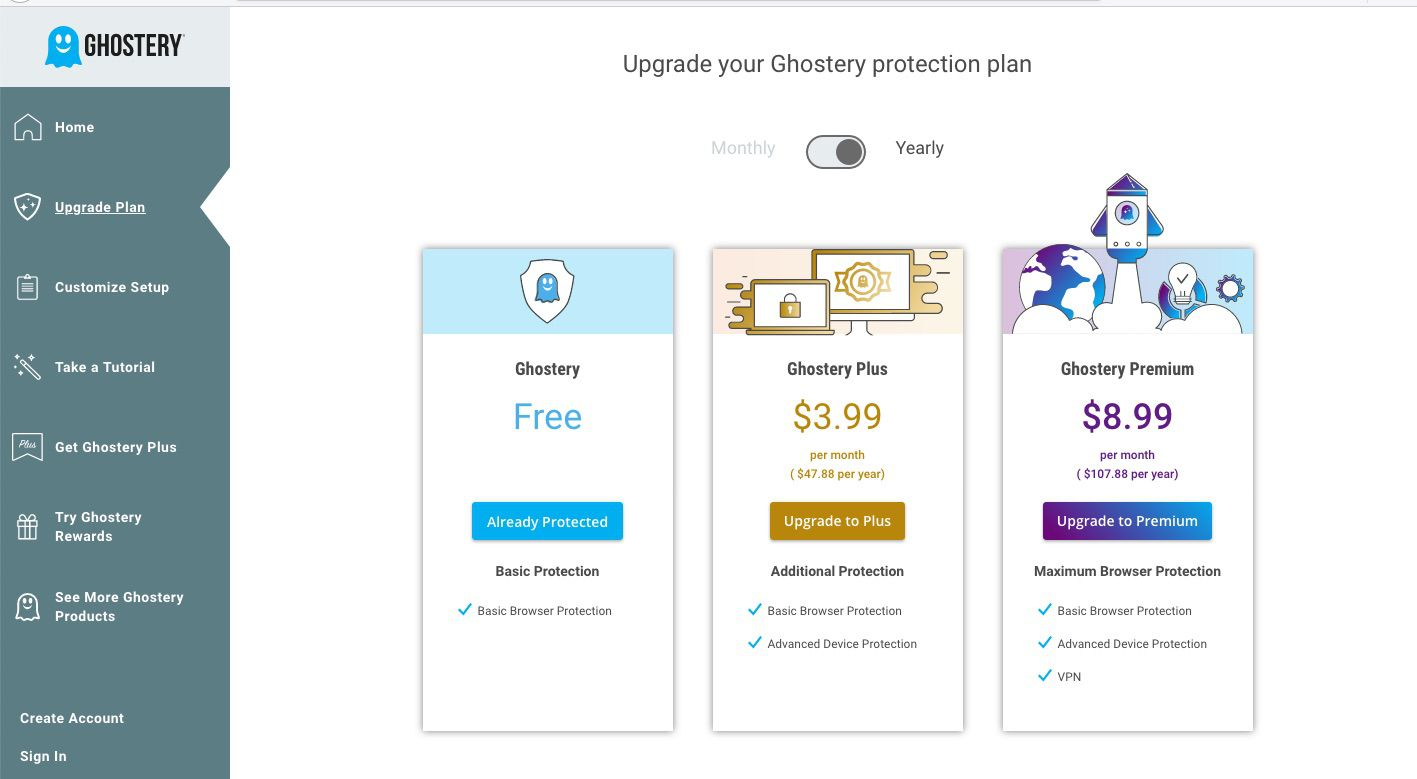 Ghostery Firefox extension upgrade page