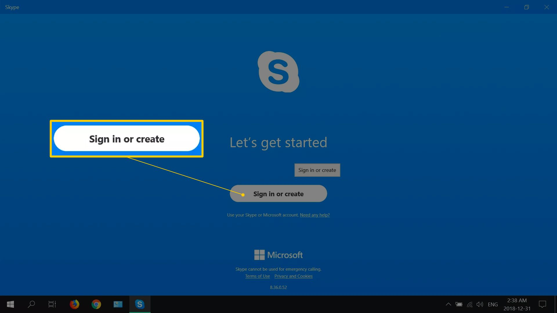 Sign in or create button on Skype's sign-in screen