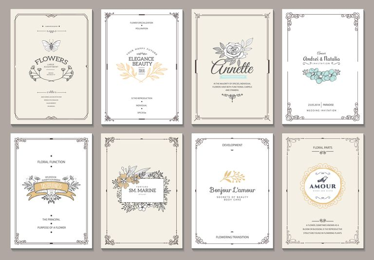 Monogram creative cards template