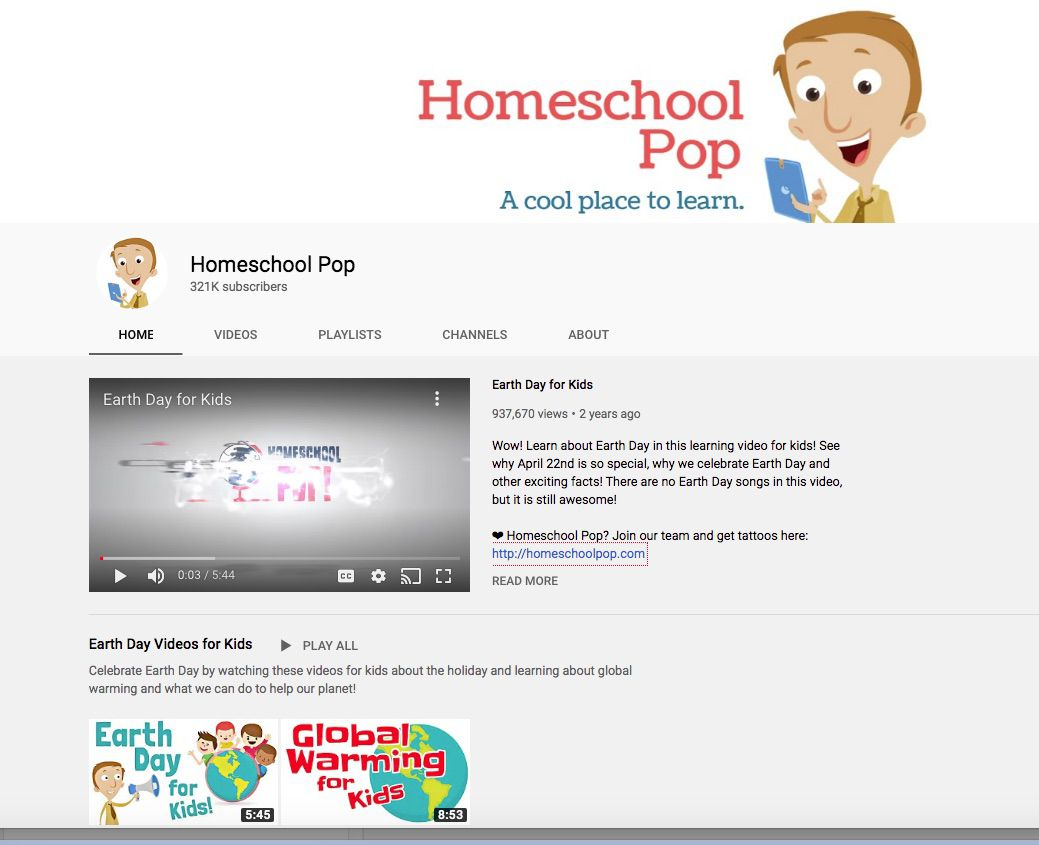 Trang chủ kênh YouTube giáo dục Homeschool Pop