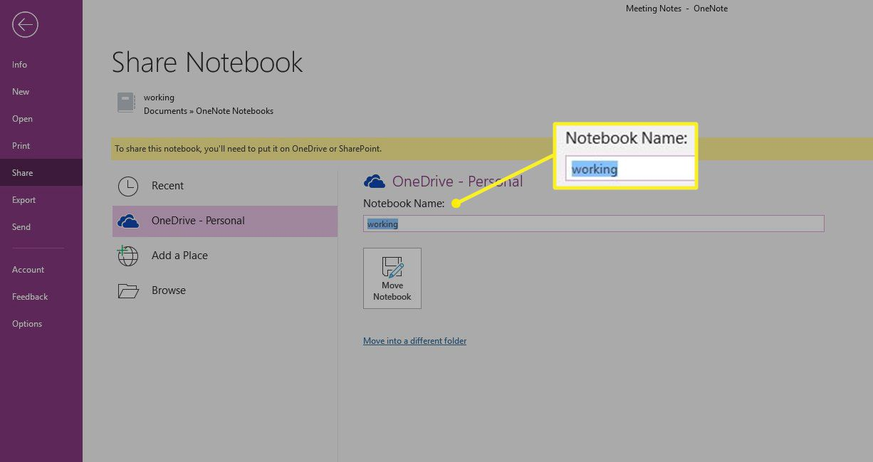 OneNote Share Notebook with Notebook Name section highlighted