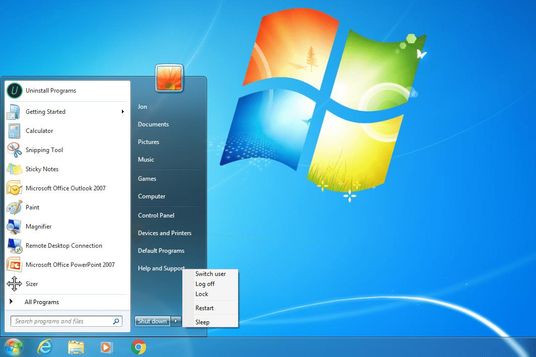 Windows 7 restart button