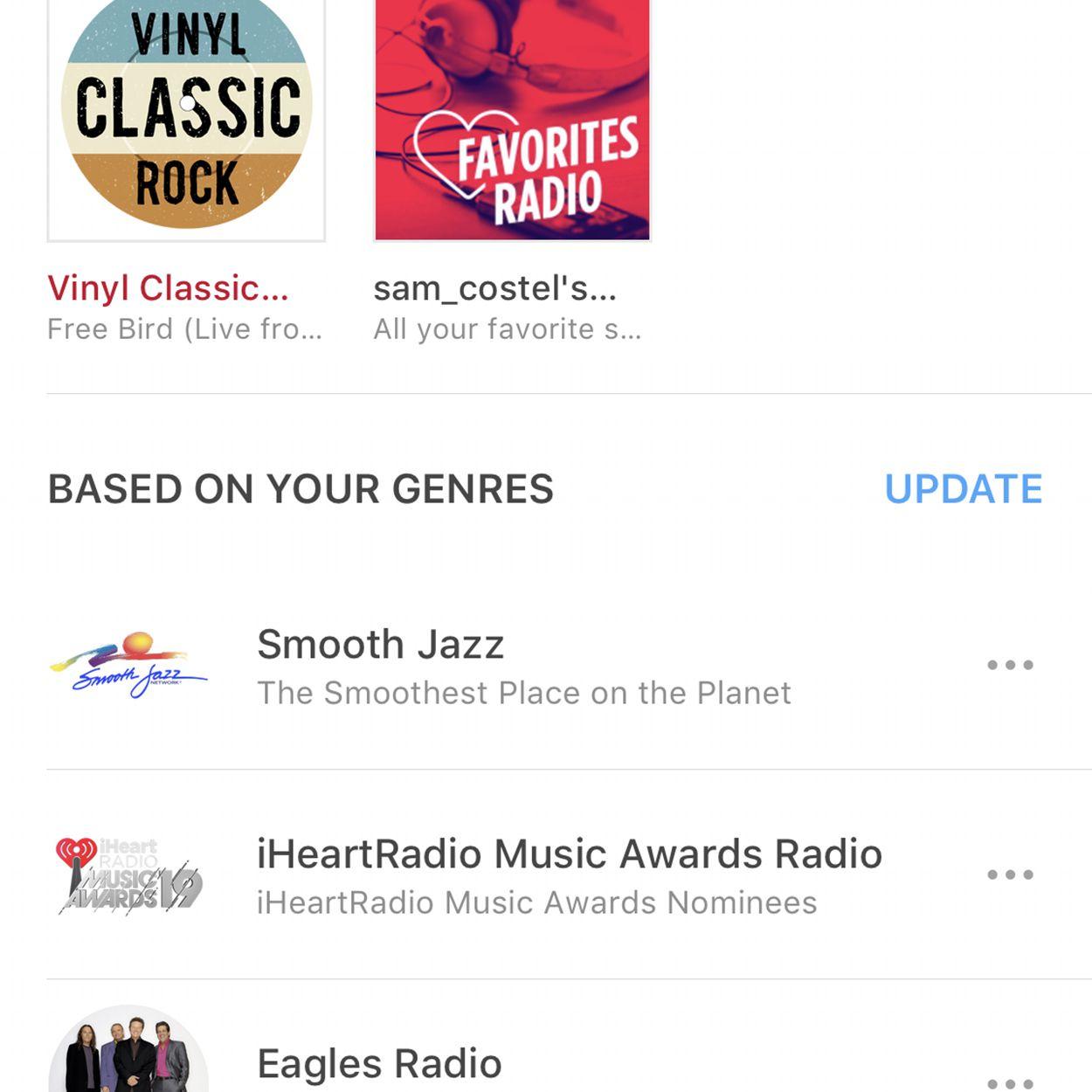 screenshot of iHeartradio app