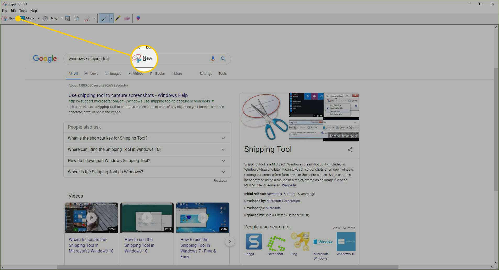 New button in the Windows snipping tool
