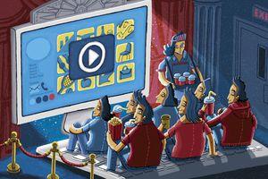 Cartoon image of Happy audience enjoying watching entertaining video on website using computer as movie theatre