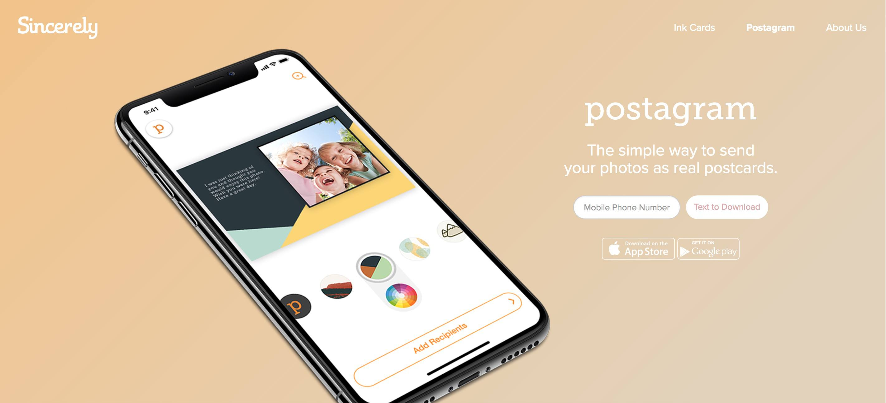 A screenshot of Sincerely.com.