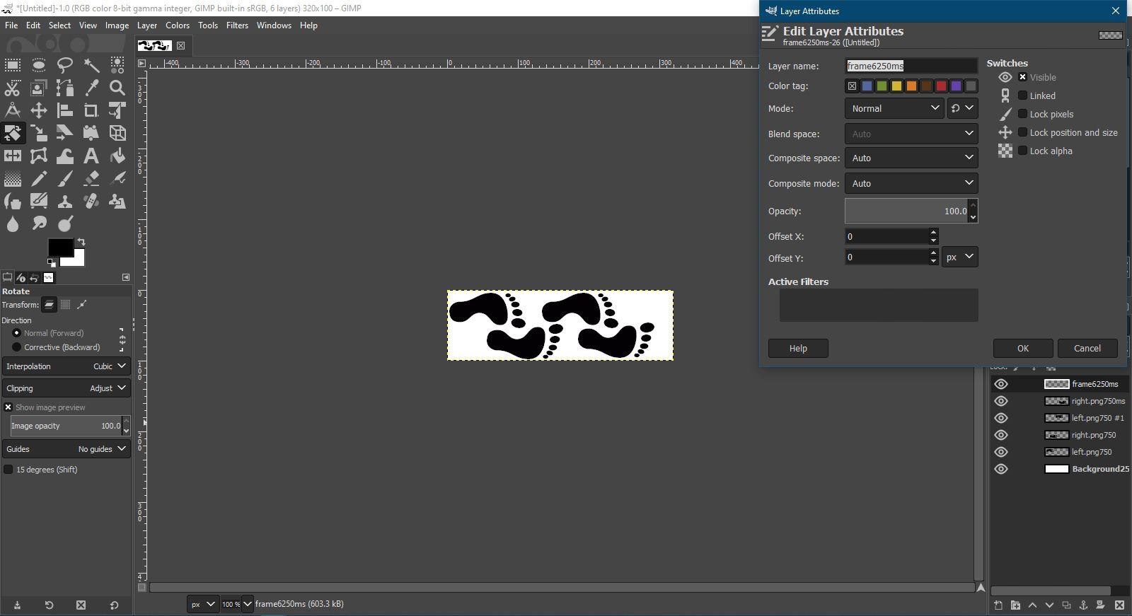 Edit layer attributes in GIMP.