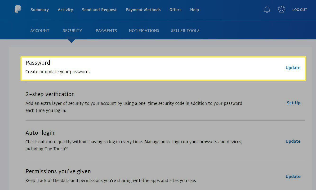 The password option in a PayPal account.