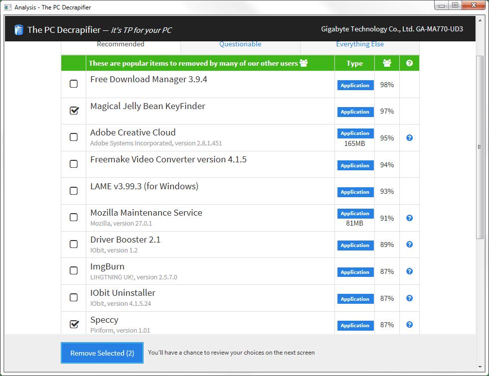 PC Decrapifier analysis