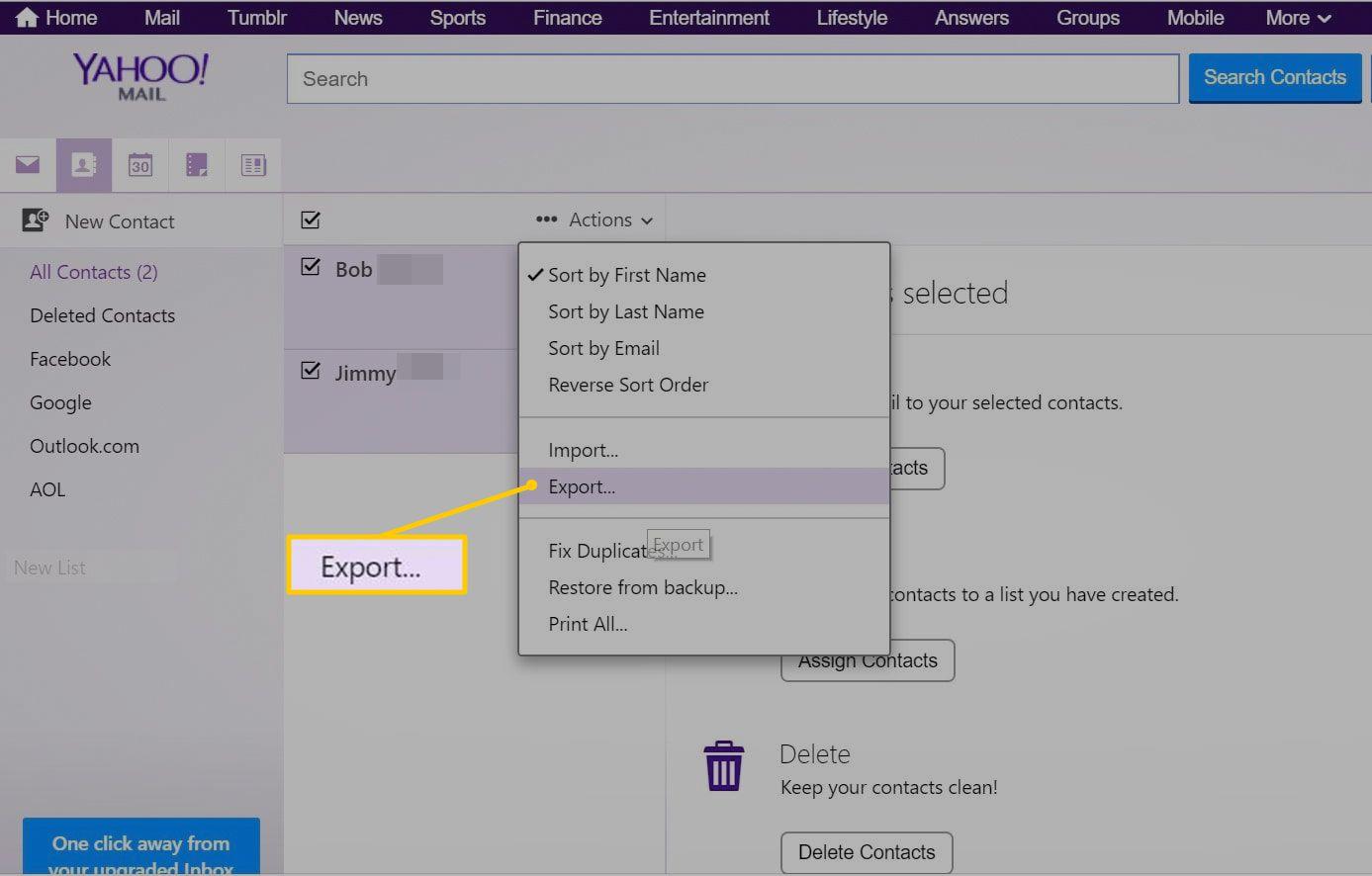 Export menu item in Yahoo Mail Actions menu