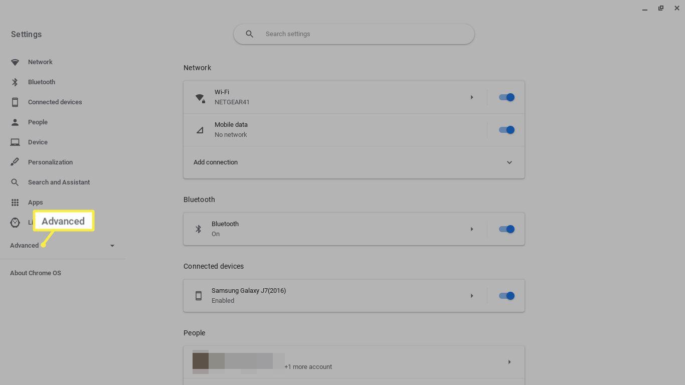 Advanced in Chromebook settings