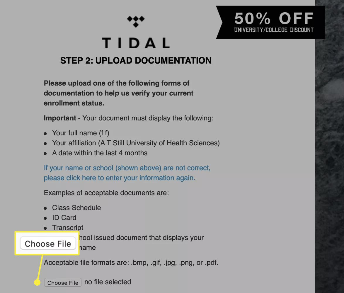 A Tidal user uploads documentation proving their status as a student