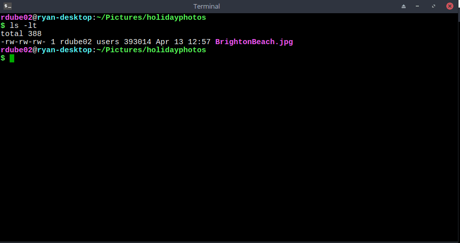 A screenshot of ls -lt command results