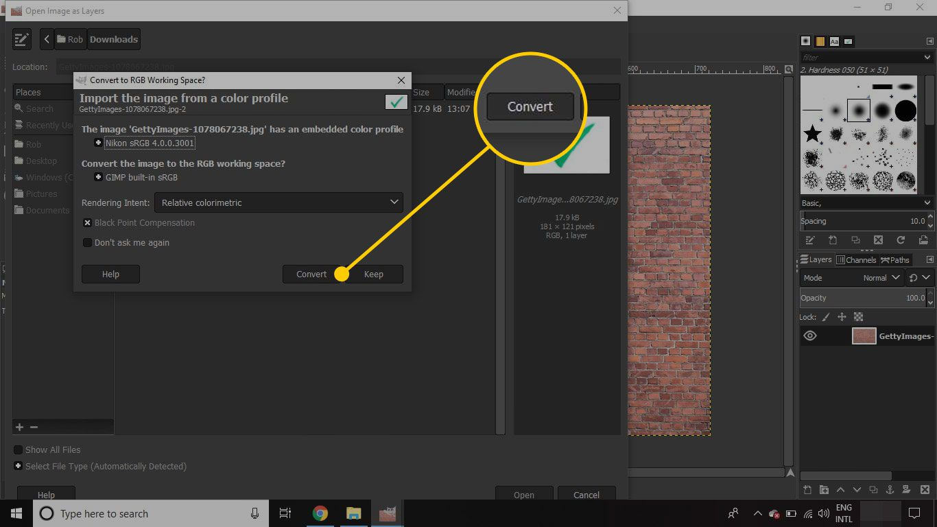 Dialogue window to convert image to RGB in GIMP with the Convert button highlighted
