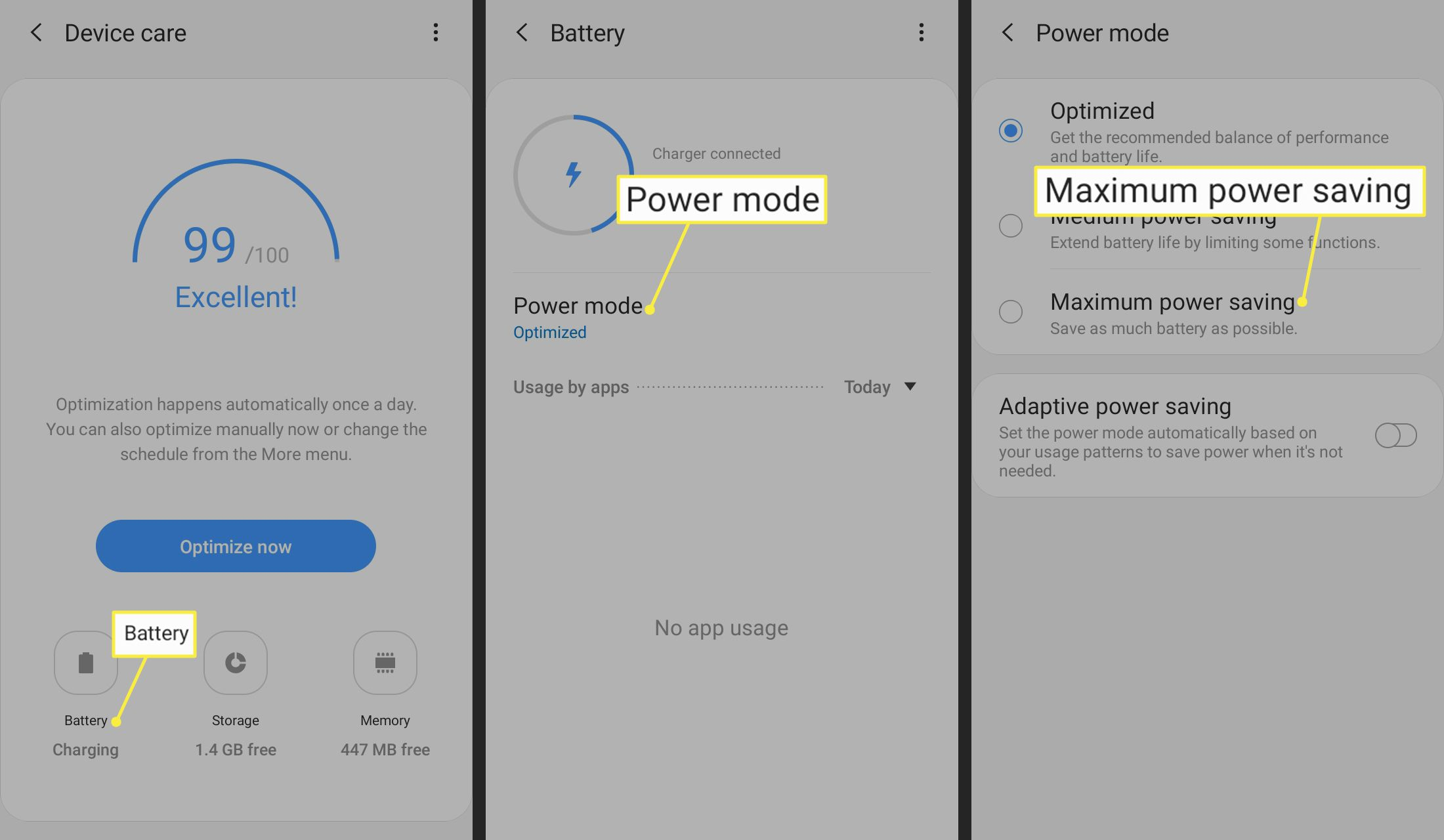 Battery, Power mode, Maximum power savings highlighted in Android settings