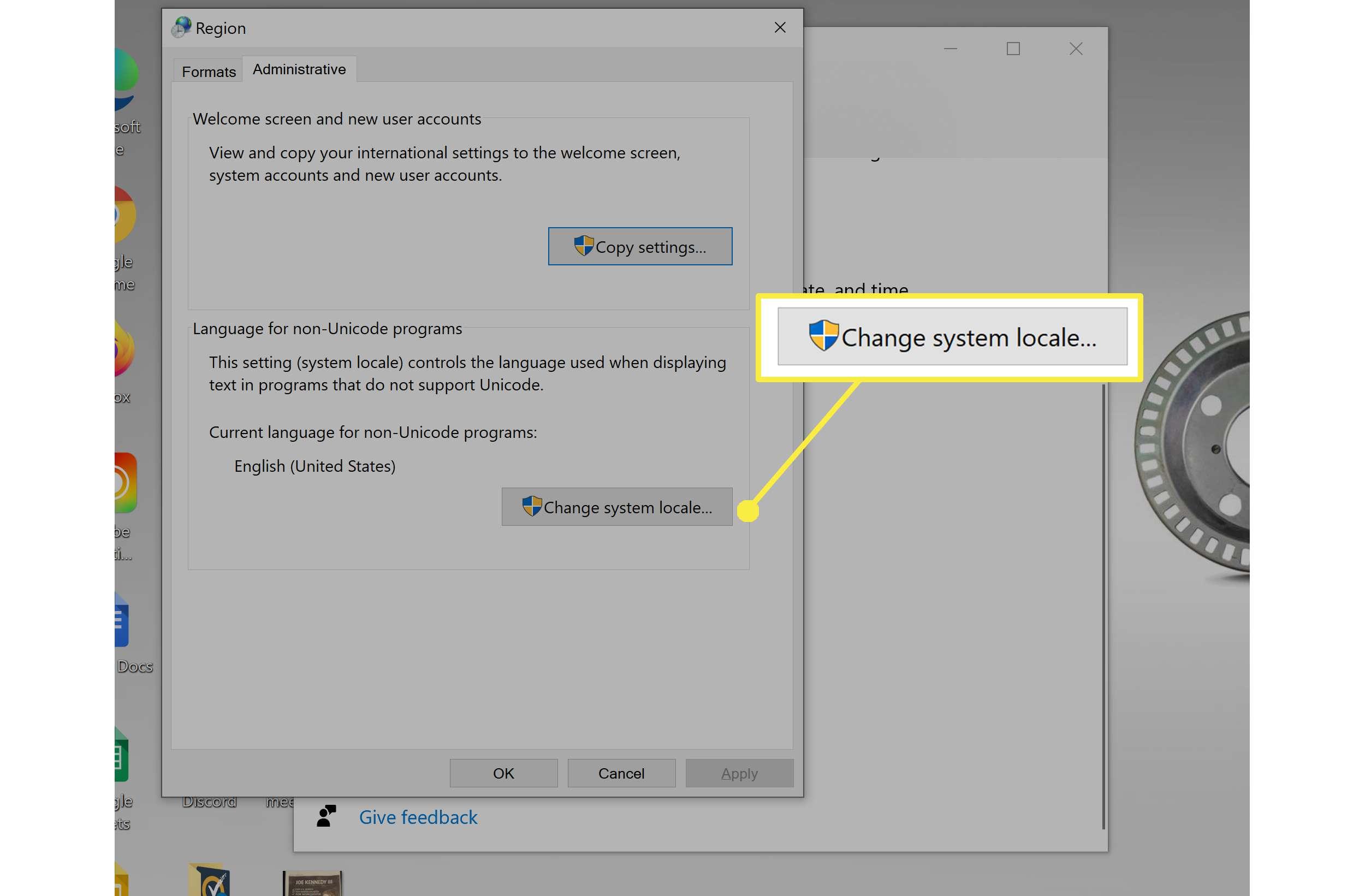 Changing region settings in Windows 10.