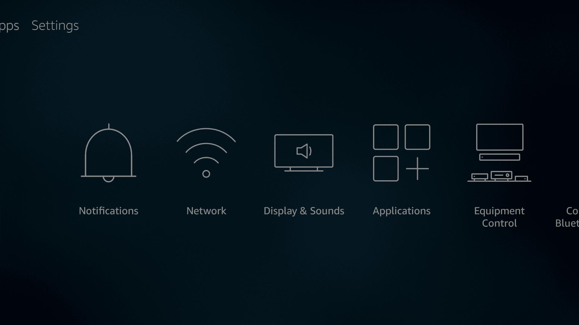 The Fire TV settings menu