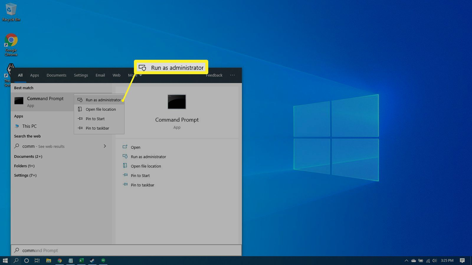 Selecting to run the Command Prompt as an admin