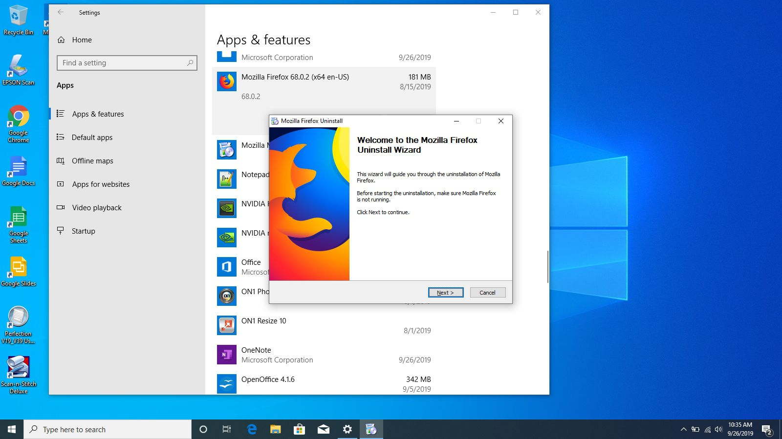 The uninstall wizard for Firefox in Windows 10.