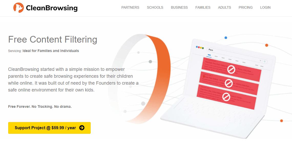CleanBrowsing public DNS server website