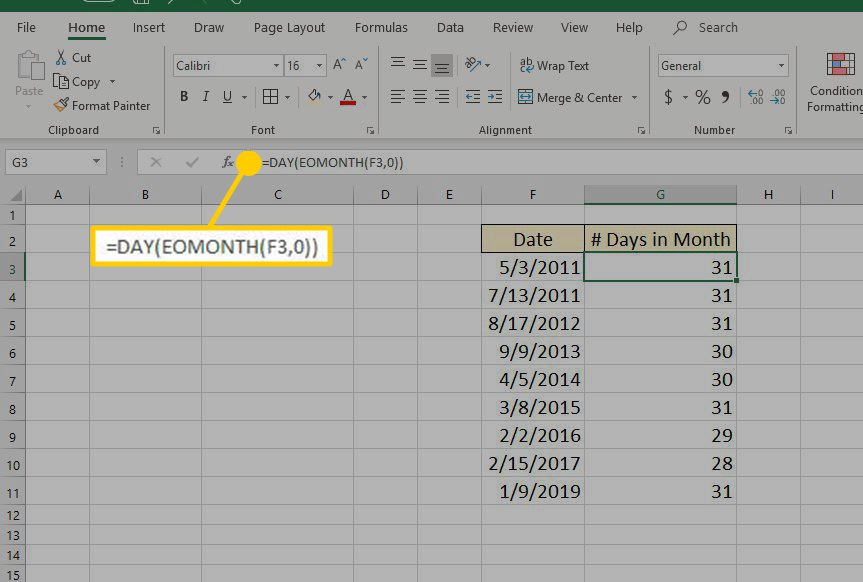 The Excel DAY function using within a formula.