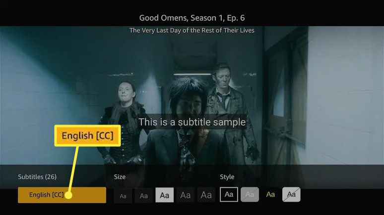 English [CC] highlighted in Amazon Prime Video subtitle settings
