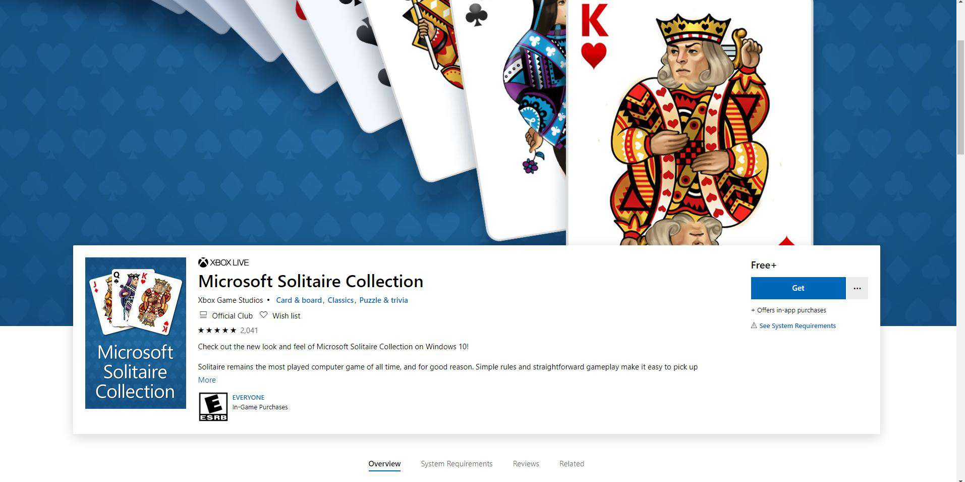 Screenshot of MS Solitaire Collection page