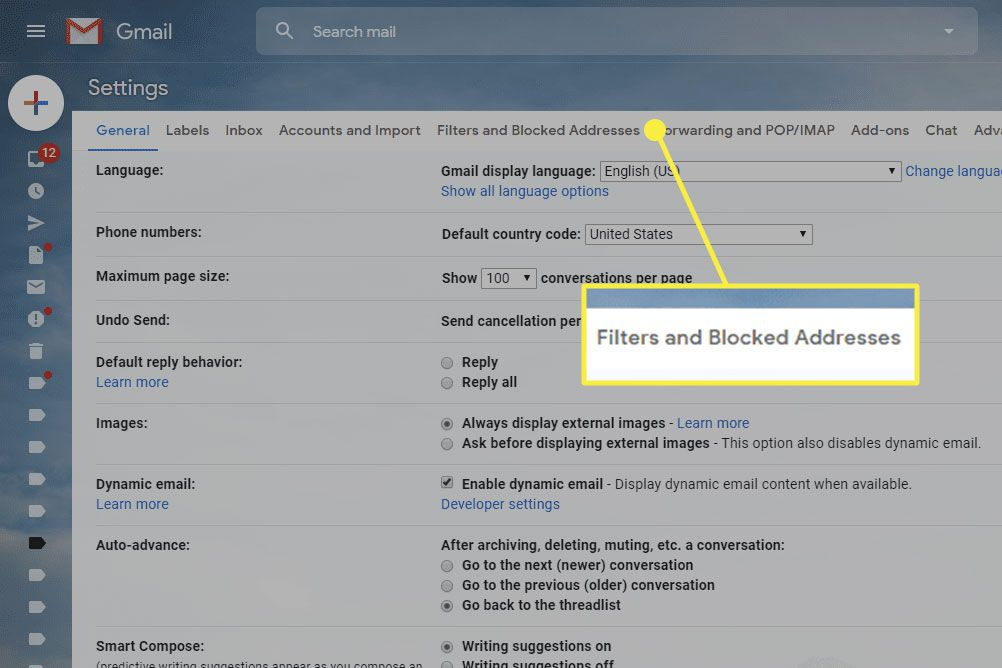 A screenshot of Gmail settings with the Filters and Blocked Addresses heading highlighted