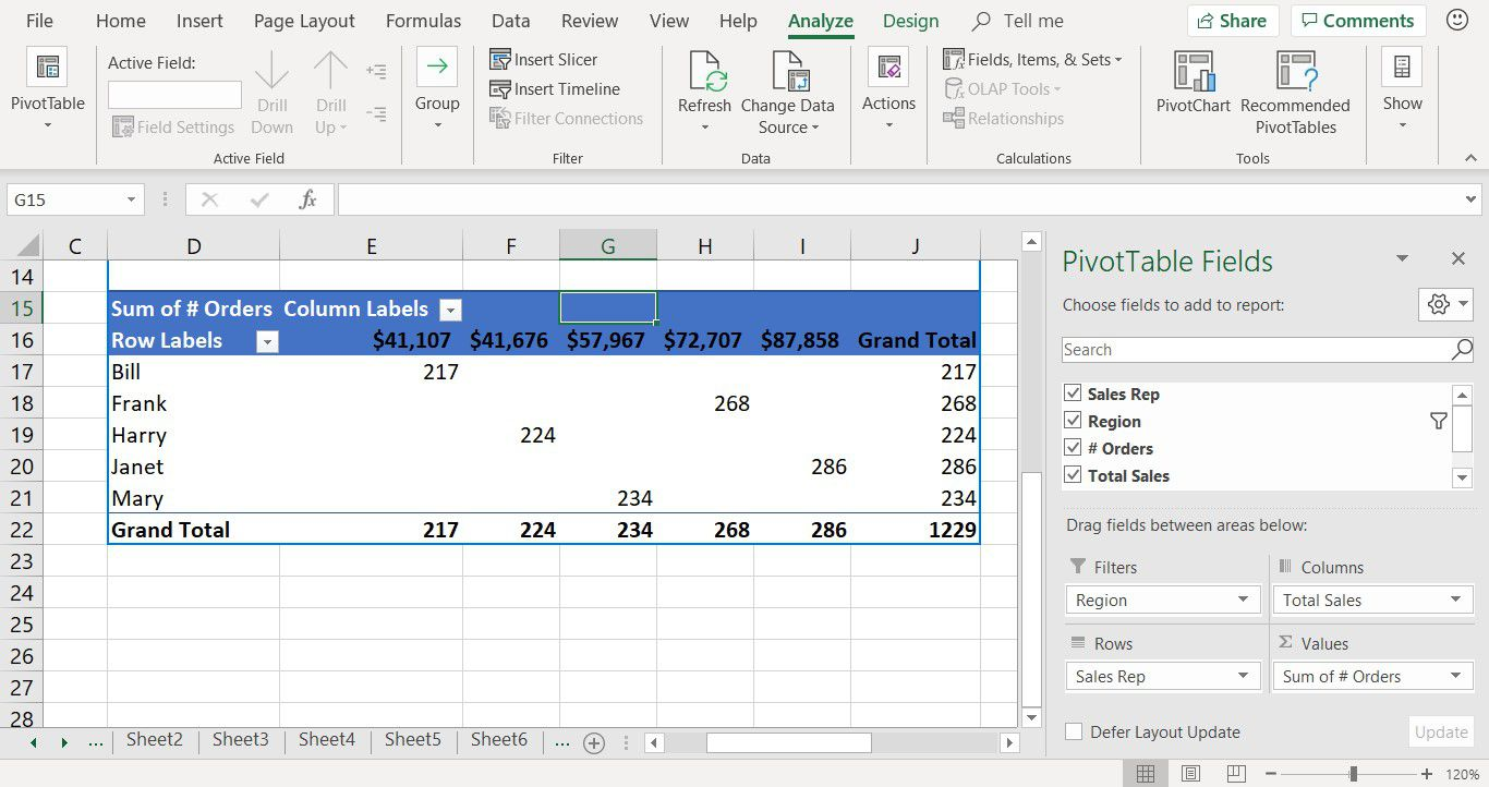 Excel showing how to change pivot table arrangement
