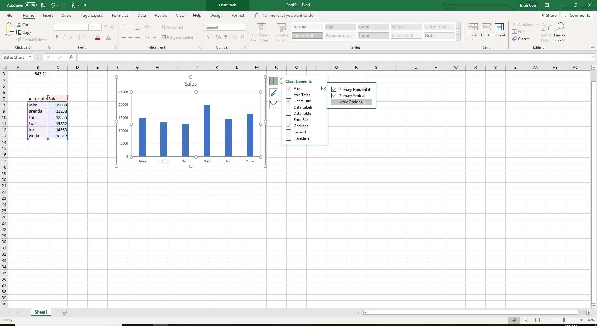 Screenshot showing Axes options