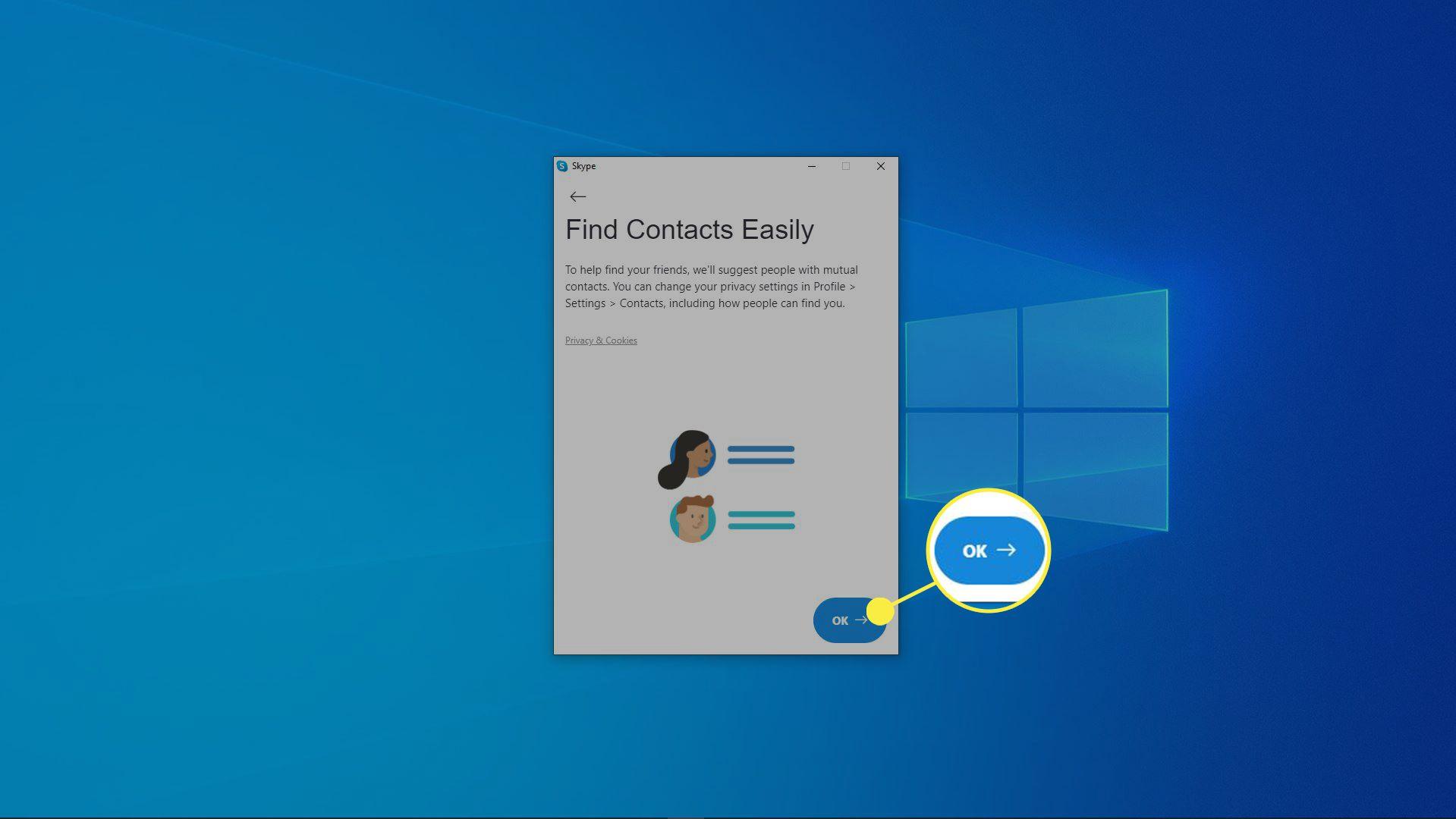 A screenshot of the Skype installation process.