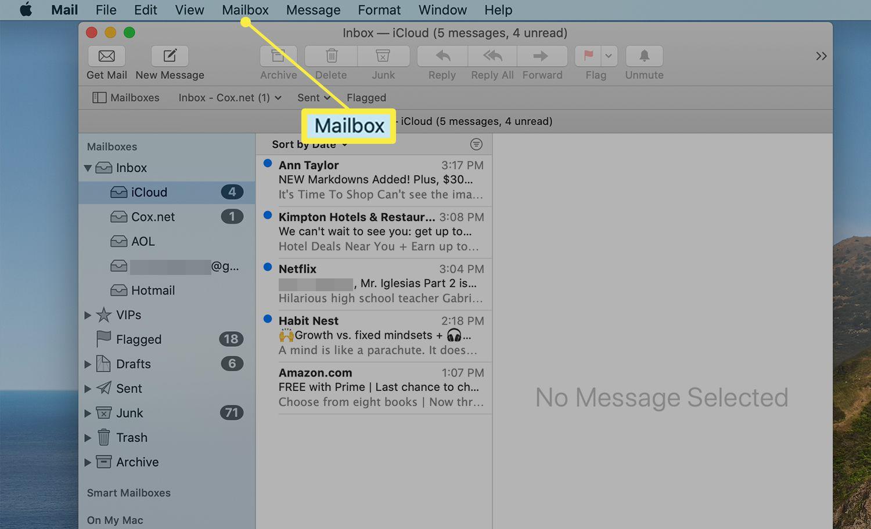 The Mailbox tab on the Mac Mail menu bar