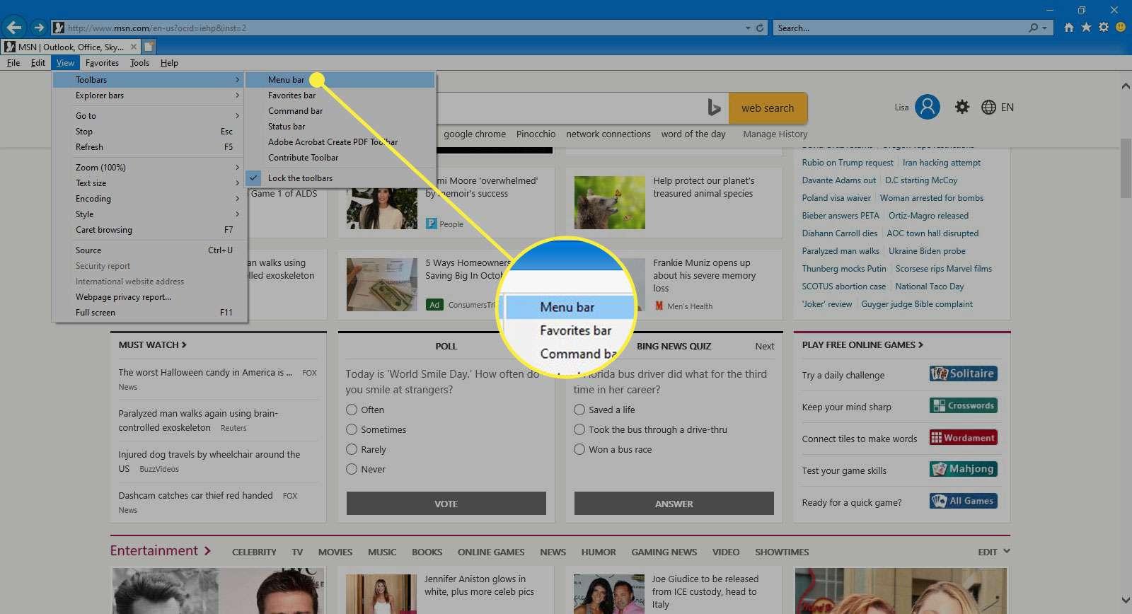 The View Menu Bar command in Internet Explorer