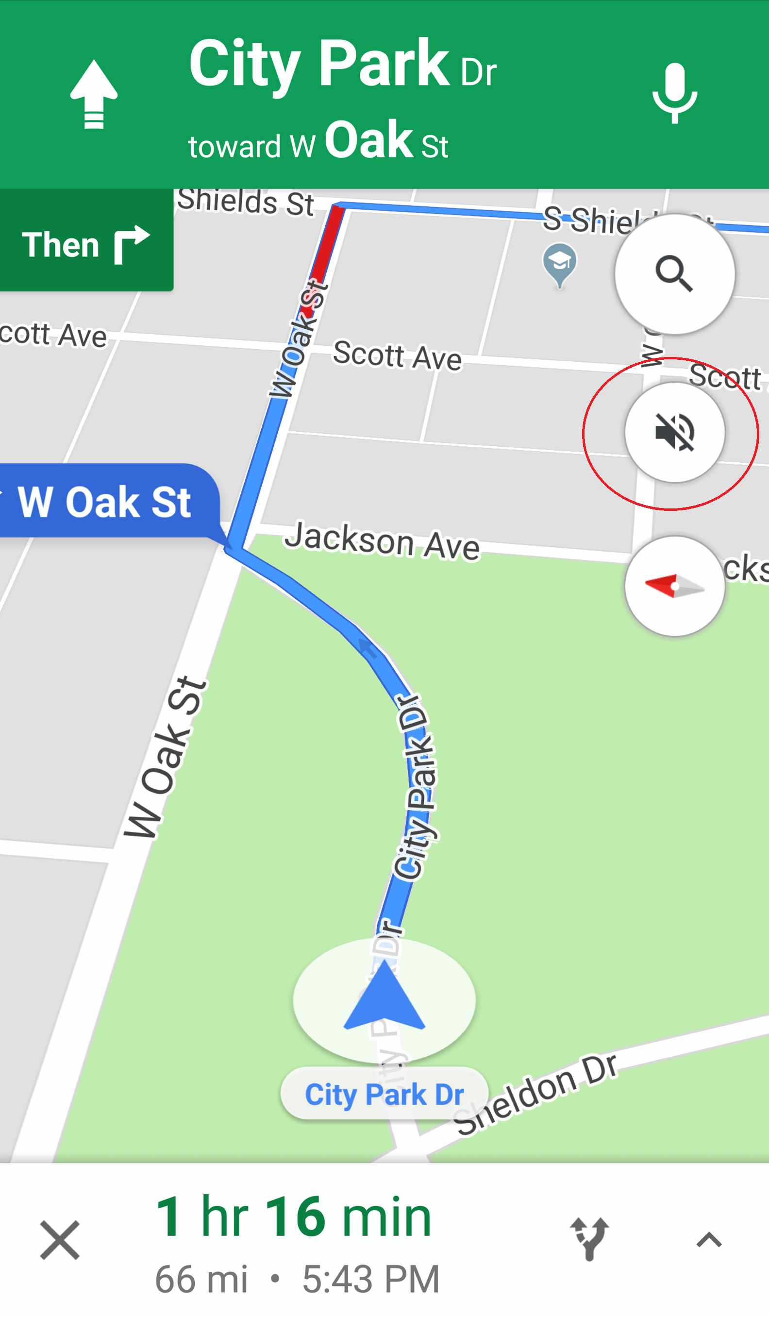 navigation in Google Maps muted