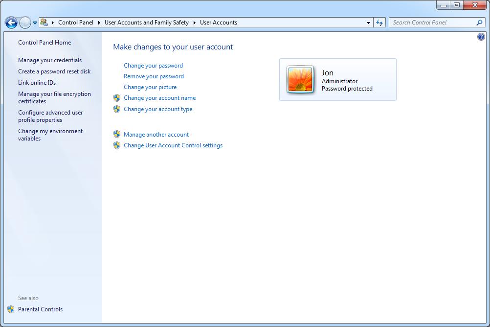 Windows 7 User Accounts screen