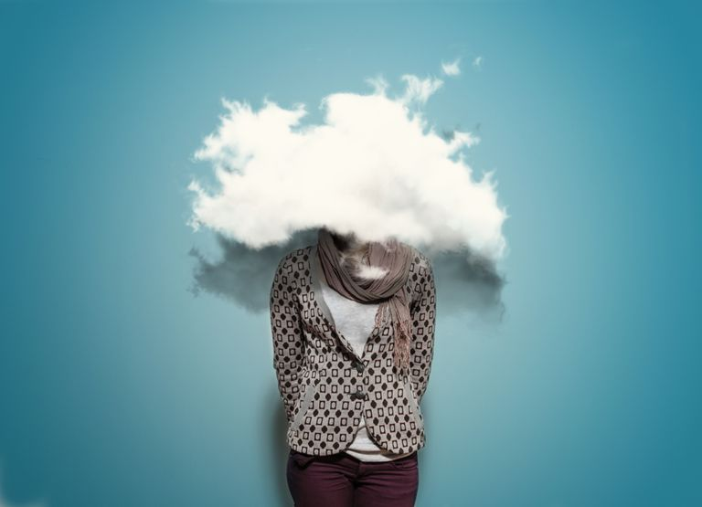 A woman with her head in the clouds