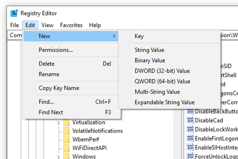 New string value registry editor option in Windows 10